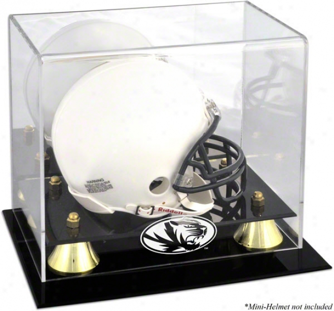 Missouri Tigers Logo Mini Helmet Disolay Case  Details: Golden Classic, Mirror Back