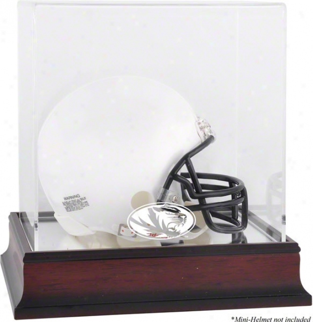 Missouri Tigers Logo Mini Helmet Display Case  Details: Mahogany, Mirror Bottom