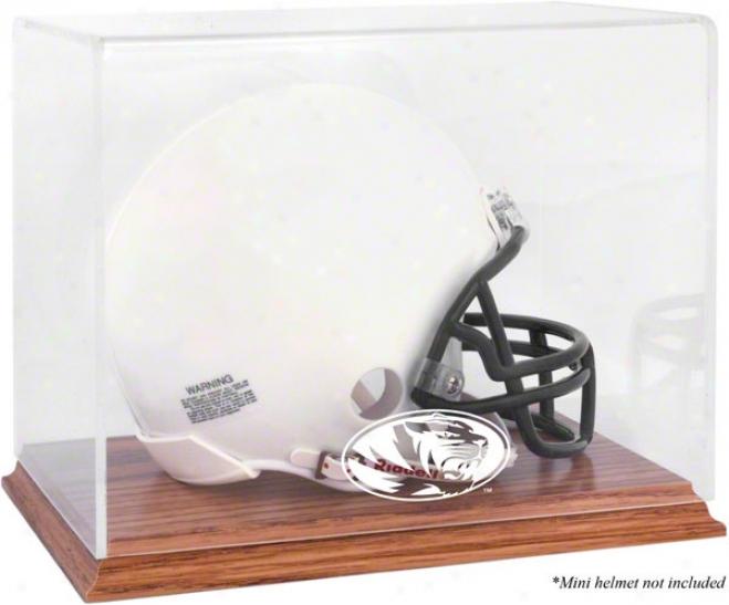 Missouri Tigers Team Logo Mini Helmet Exhibit Case  Details: Oak Base, Mirror Back