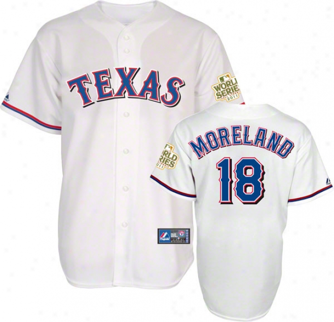Mitch Moreland Jersey: Trxas Rangers #18 Home White Replica Jesrry With 2011 World Series Participant Patch