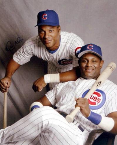 Moises Alou Chicago Cubs Autographed 16x20 W/ Sammy Sosa Photo