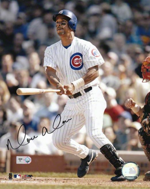 Moises Alou Chicago Cubs - Swinging - Autographed 8x10 Photograph