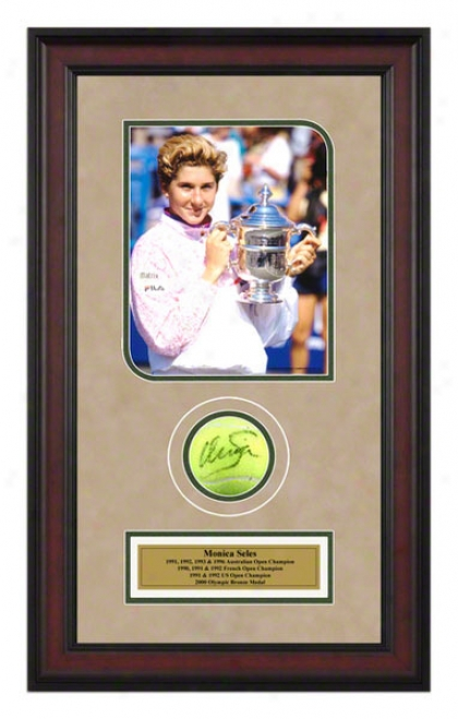 Monica Seles 1991 Us Open Framed Autographed Tennis Ball With Photo