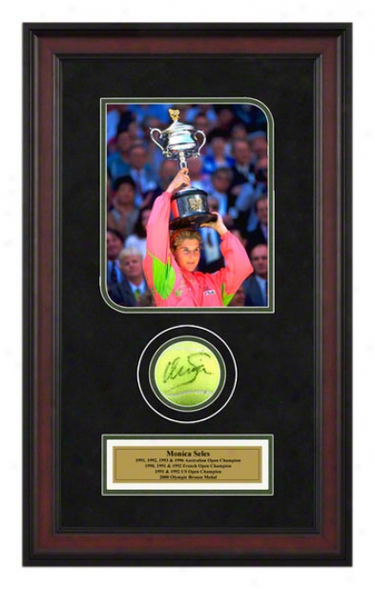 Monica Seles 1992 Australian Open Framed Autographed Tennis Ball With Photo