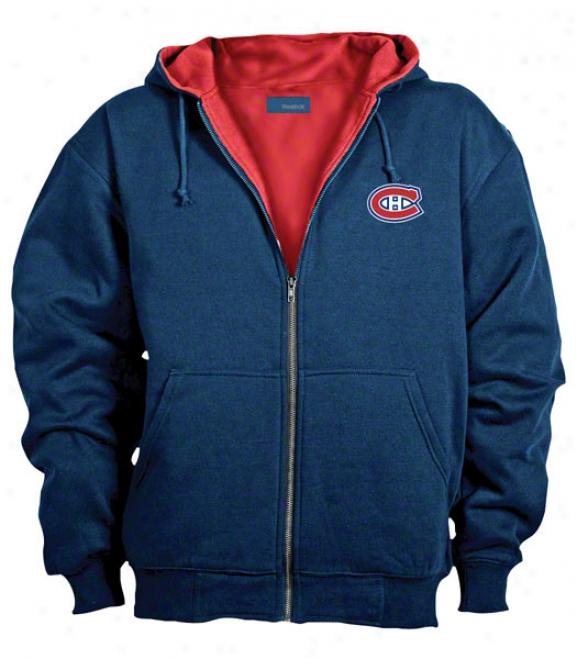 Montreal Canadiens Jacket: Blue Reebok Hooded Craftsman Jacket