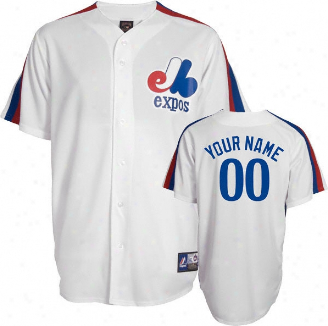 Mnotreal Expos Cooperstown White -personalized With Your Name- Replica Jersey