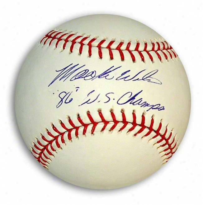 Mookie Wilson Autographed Mlb Baseball Inscribed &quot86 Ws Champs&quot