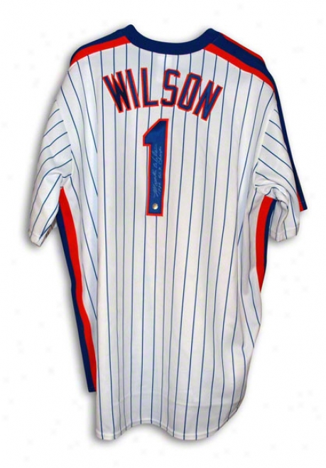 Mookie Wilson New York Mets Autographed White Pinstripe Throwback Majestic Jersey Inscribed 1986 Ws Champs