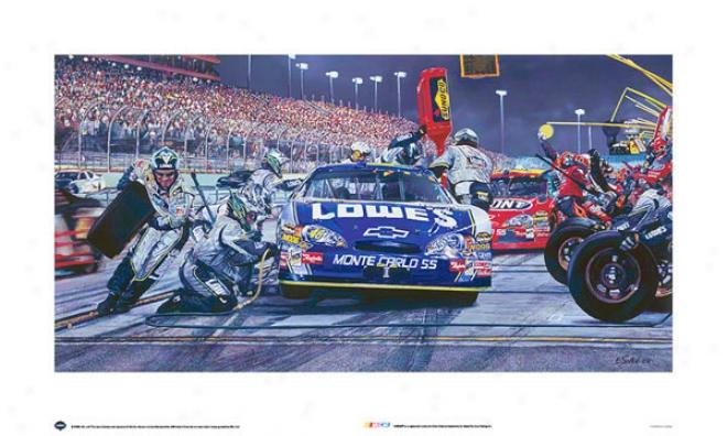 Nascar Print: Lowes Car Pit Stop Art