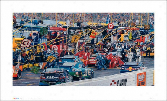 Nascar - &quotin The Pits&quot - Unframed Art Print