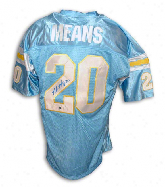 Natrone Means Autographed San Diego Chargers Powder Blue Throwbac kJersey