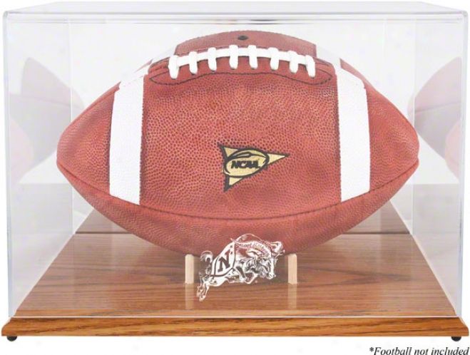 Navy Midshipmen Team Logo Football Dis;lay Declension-form  Details: Oak Base, Mirror Back