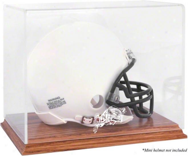 Navy Midshipmenteam Logo Helmet Display Case  Details: Oak Base, Mirror Back