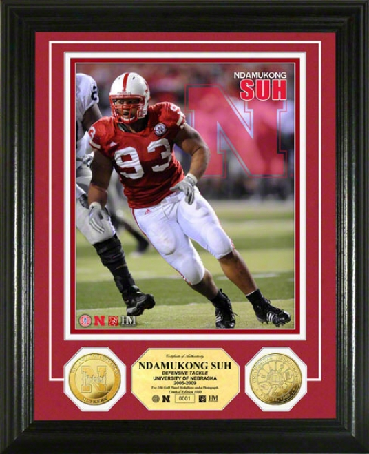 Ndamukong Suh University Of Nebraska 24kt Gold Coin Photo Mint