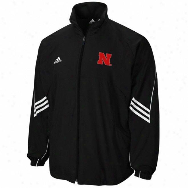Nebraska Cornhuskers Black Adidas Climalite Warmup Jacket
