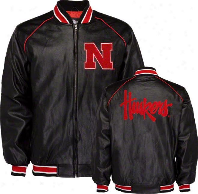 Nebraska Cornhuskers Faux Leather Varsity Jacket