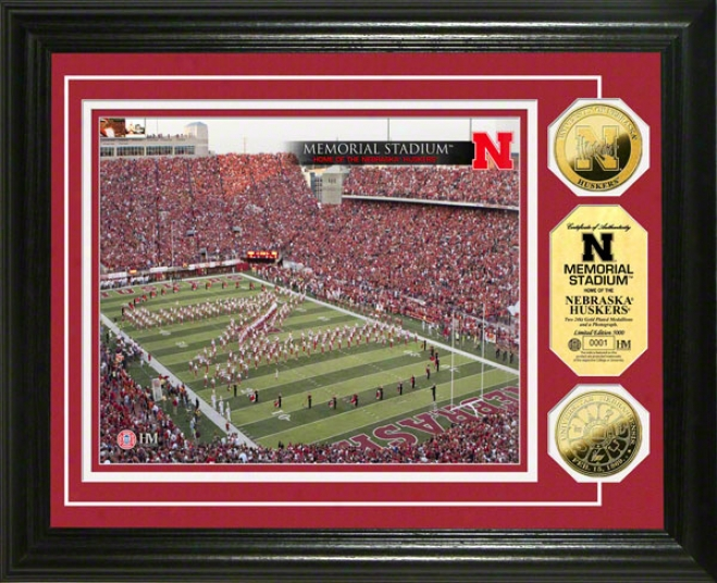 Nebraska Cornhuskers Memorial Stadium 24kt Gold Coin Photo Mint