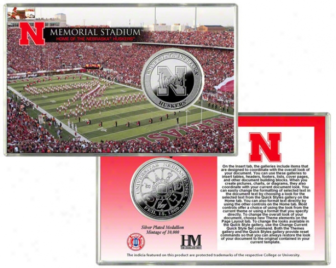 Nebraska Cornhuskers Memorial Stadium Soft and clear  Coin Card