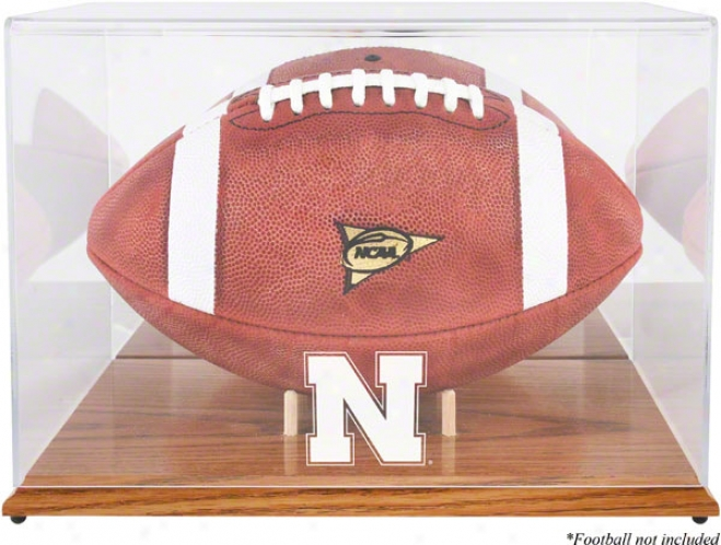 Nebraska Cornhuskers Team Logo Football Display Case  Details: Oak Base