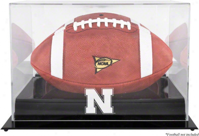 Nebtaska Cornhuskers Team Logo Football Display Case  Details: Black Base