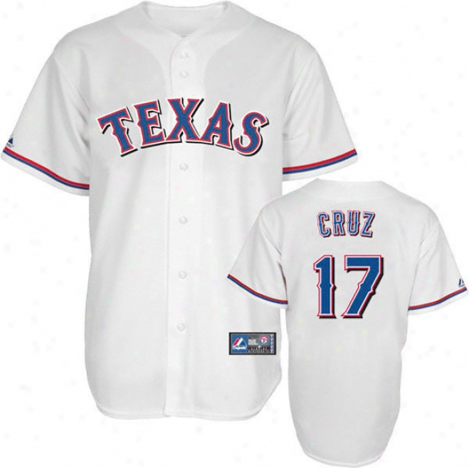 Nelson Cruz Jersey: Adult Majestic Home White Rrplica #17 Texas Ranggers Jersey