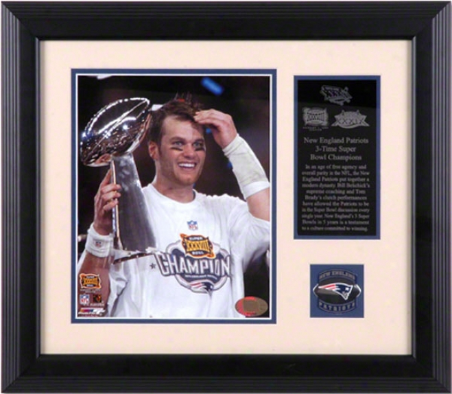 Unaccustomed England Patriots 2006 Afc Champions Framed 8x10 Photograph With Football Piece And Team Medallion