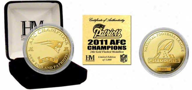 New England Patriots 2011 Afc Conference Champions 24kt Gold Coin
