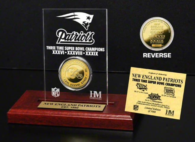 Novel England Patriots 3x Super Bowl Champions 24kt Gold Coin In Etched Acrylic