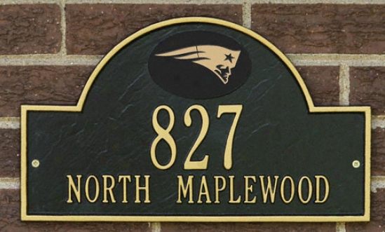New England Patriots Black And Gold Personalized Address Wall Plaque