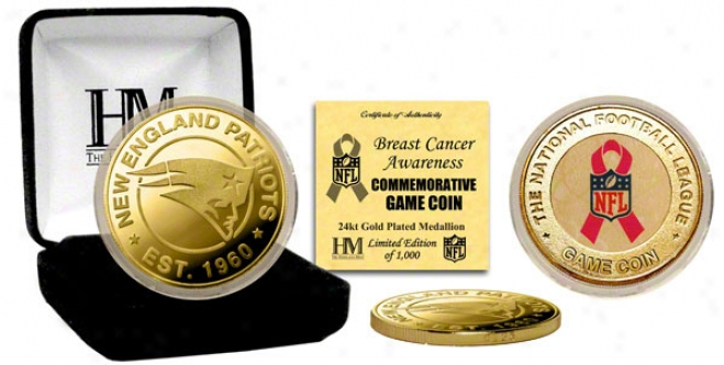 New England Patriots Breast Cancer Awareness 24kt Gold Game Coin