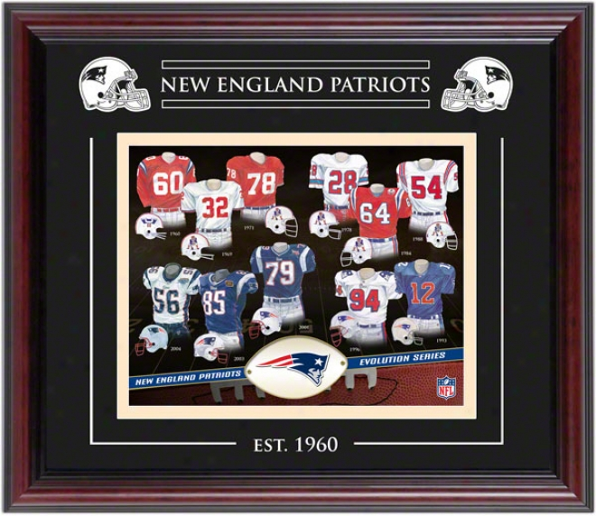 New England Pafriots - Evolution - Framed 8x10 Collage With Laser Etchimg
