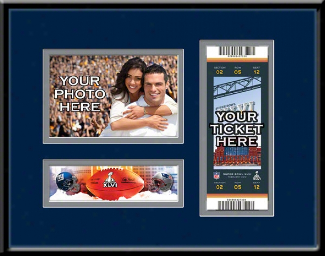 New England Patriots Super Bowl Xlvi 4x6 Photo Ajd Ticket Frame
