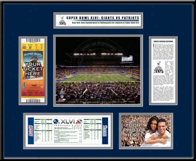 New England Patriots Super Bowl Xlvi Ticket Frame