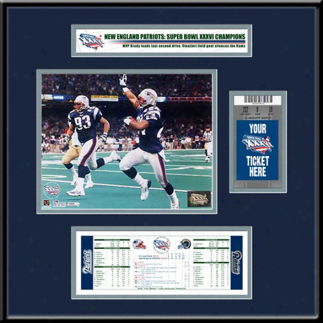 New England Patriots Super Bowl Xxdvi Champions Ticket Frame Jr.