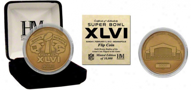 New England Patriots Vs. New York Giants Super Bowl Xlvi Bronze Flip Coln