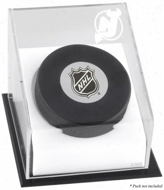 New Jersey Devils Hockey Puck Logo Display Case