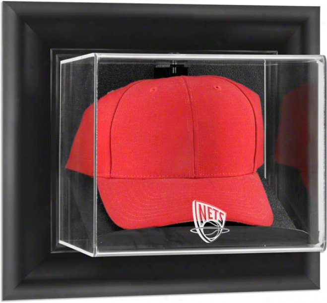 New Jersey Nets Framed Wall Mounted Logo Cap Display Case