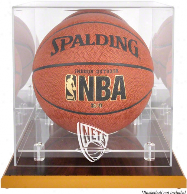 New Jersey Nets Woodbase Logo Basketball Display Case And Mirror Back