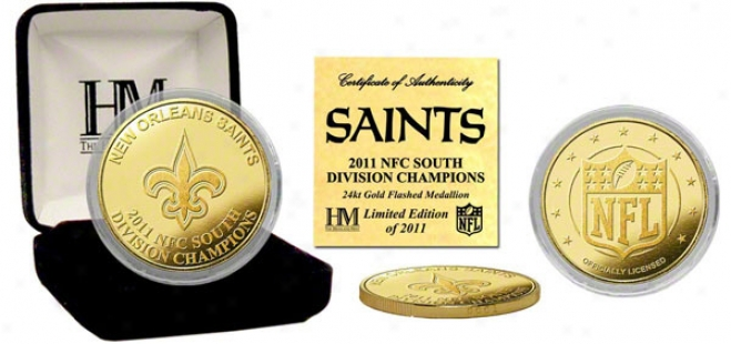 New Orleans Saints 2011 Nfc Southern Portion Champions 24kt Gold Coin