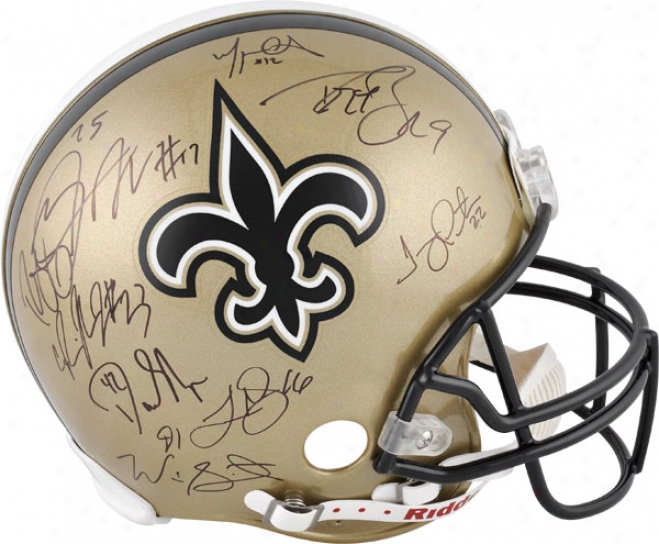 New Orleans Saints Autographed Pro-line Helmef  Details: 9 Signatures, Authentic Riddell Helmet