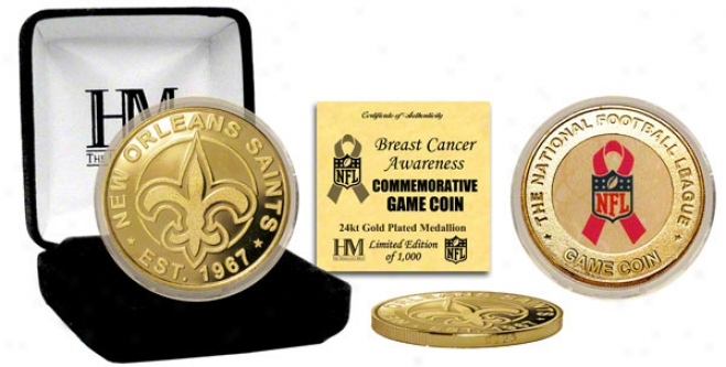 New Orleans Saints Breast Cancer Awareness 24kt Gold Quarry Coin