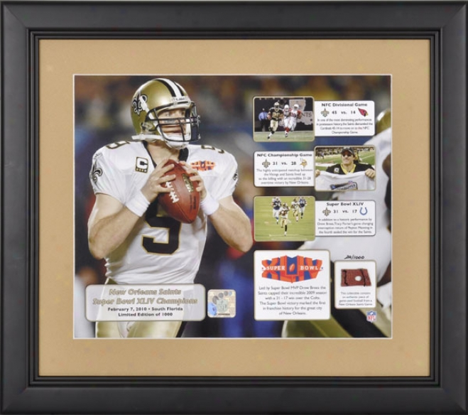 New Orleans Saints Framed 2009 Road To The Super Bowl Collage With Football - L. E. Of 1000