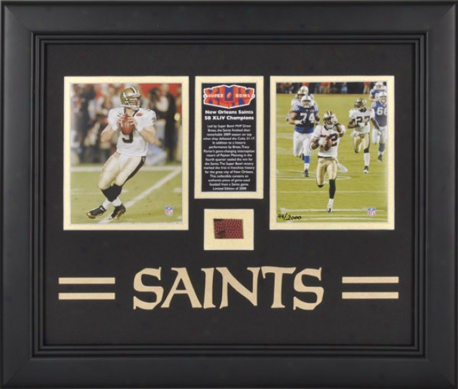 New Orleans Saints Framed 2009 Season Photographs With Team Logo And Football - L.e. Of 2000