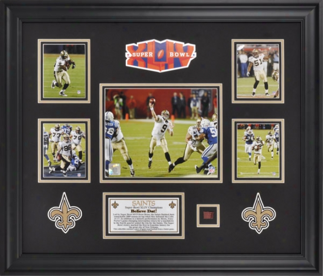 New Orleans Saints Framed 5-photograph Collage  Details: 2009 Chsmpionship, With Descriptive Plate And Game Used Football Piece - L. E. Of 500