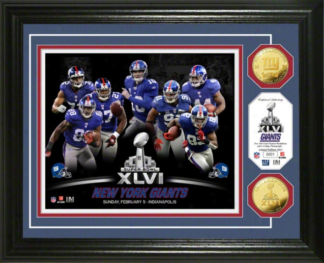 New York Giants 2011 Nfc Conference Champions Super Bowl Xlvi 24kt oGld Ckin Team Photo Mint