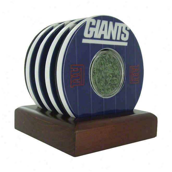 New York Giants 4 Pack Giants Logo With Yard Markers Coaster Set With Game Used Tur f