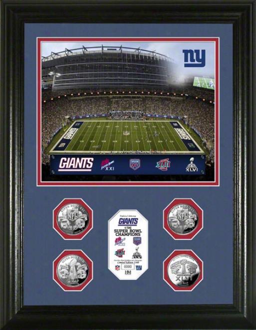 New York Giants 4-time Super Bowl Xlvi Champions 24kt Gold Coin Photo Mint