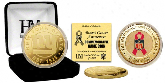 New York Giants Breast Cancer Awareness 24kt Gold Game Coin