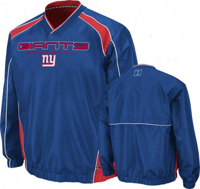 New York Giant Coach's Choice Ii Royal Lightweight Pullover Jacket