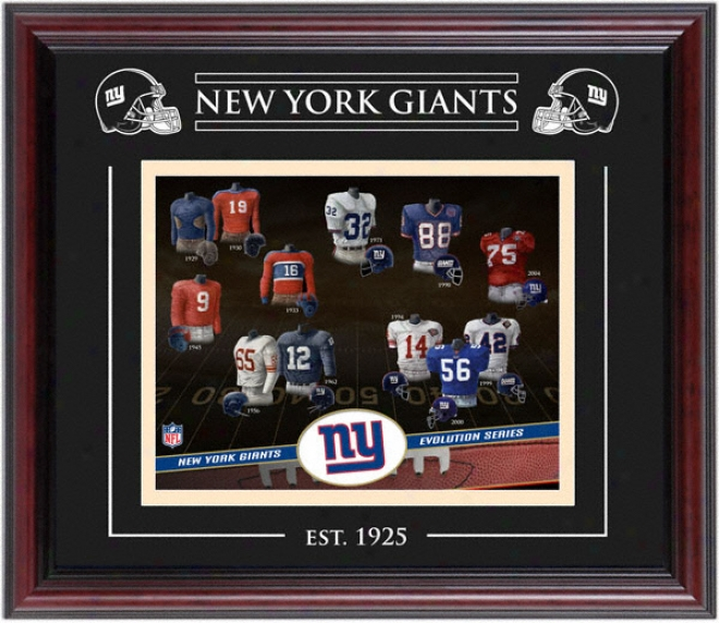 New York Giants - Evolution - Framed 8x10 Colage With Laaser Etching